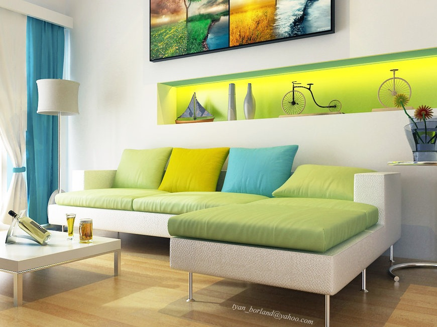Modern white green aqua blue living room interior design for Living room designs green