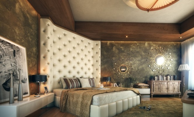 oversized cushioned headboard luxurious bedroom