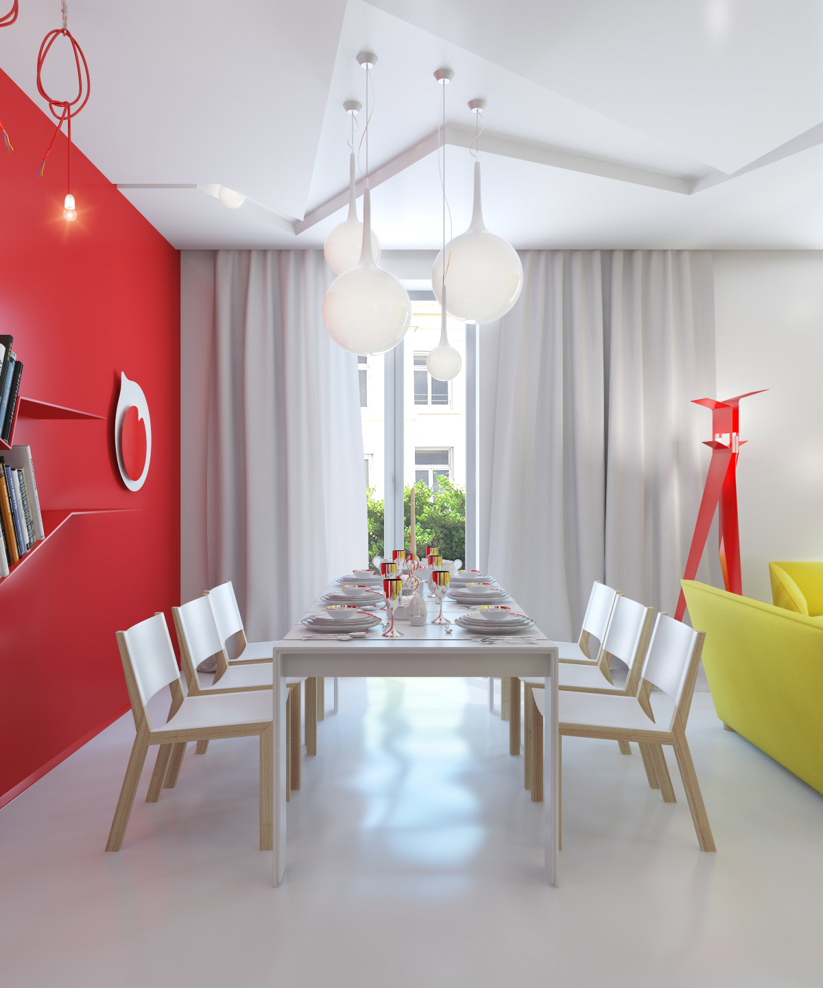 Red white dining room interior design ideas for Colorful interior design ideas