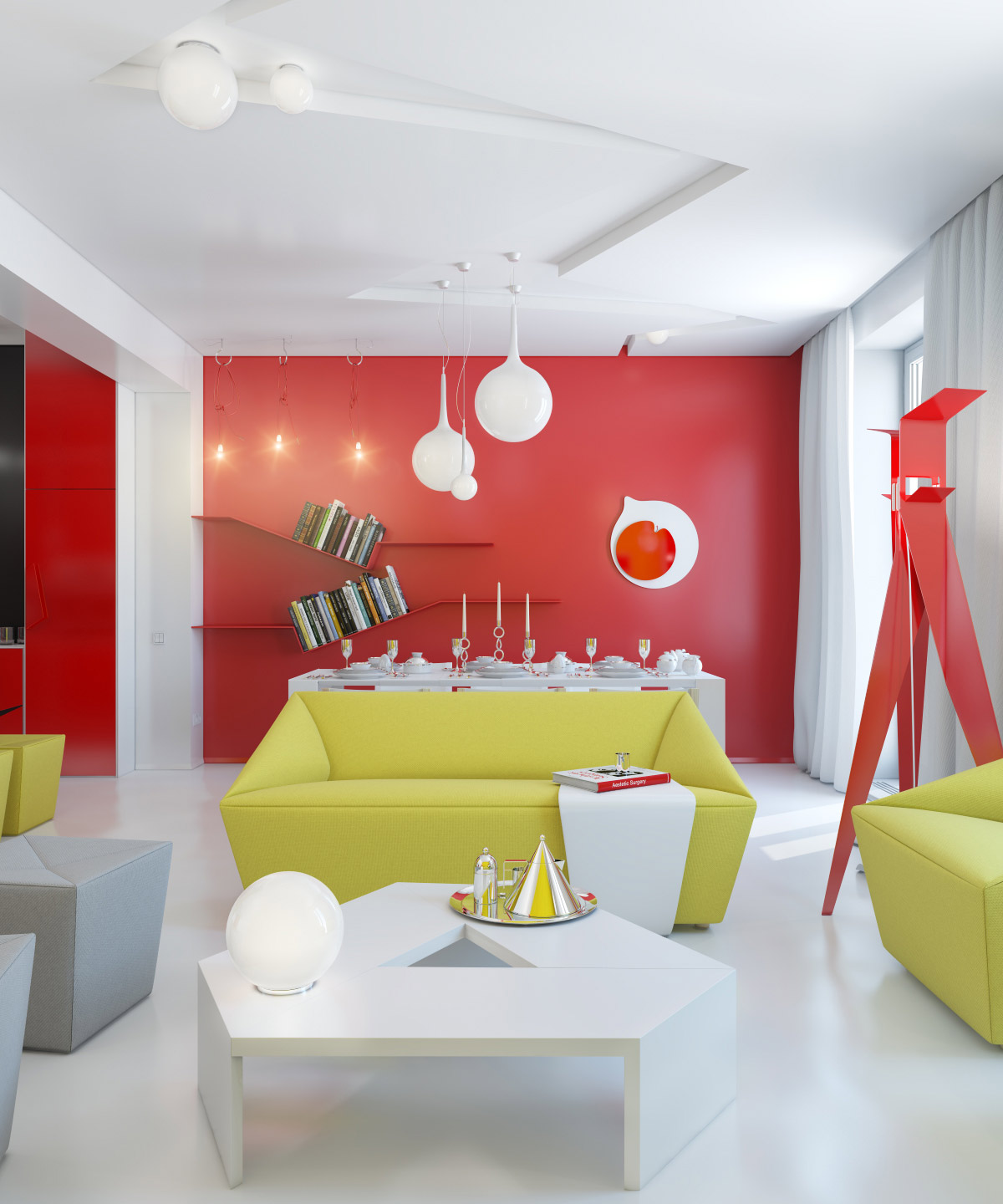 red white yellow open plan living space | interior design ideas.