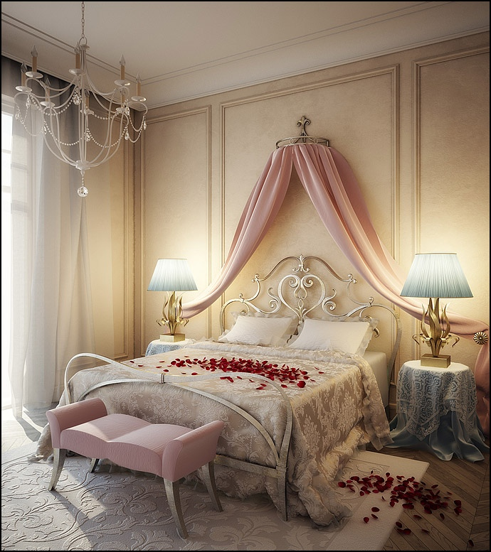 Romantic pink blue cream bedroom design interior design for Bedroom ideas cream