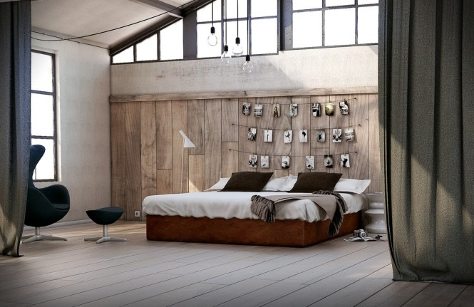 Via XM StudioRustic wood paneling forms a cozy backdrop, and looks great teamed with moody black and white photography, as shown above, in a fabulous utilitarian scheme.
