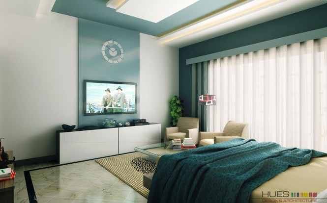 In recent years, master bedrooms have evolved to also include entertainment stations with wall mounted TVs, DVD players and games consoles, and these items provide another opportunity to make a large statement in your décor; inject color and cohesion by adding a glossy wall panel behind the gadget menagerie.