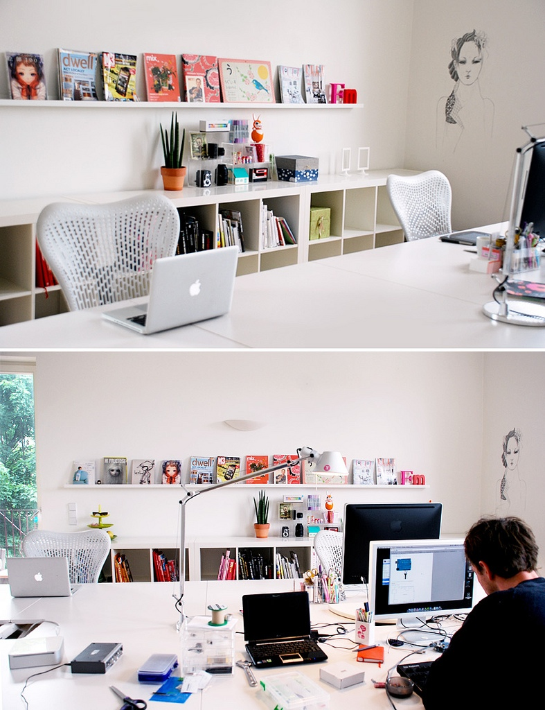 white contemporary office scheme | Interior Design Ideas.