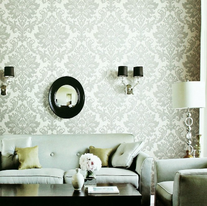 white gray fleur de lis wallpaper living room