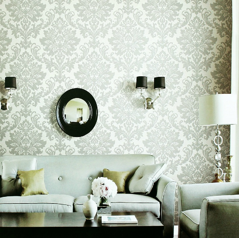White gray fleur de lis wallpaper living room interior for Interior design living room wallpaper