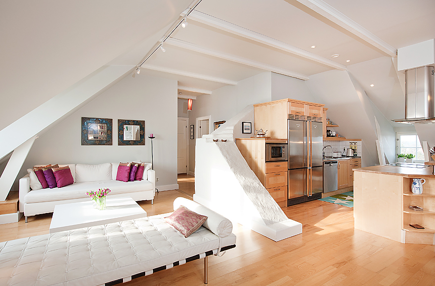 Stockholm Attic with Stepped Walls & Steep Ceilings - photo#35