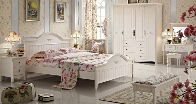white pink floral bedroom