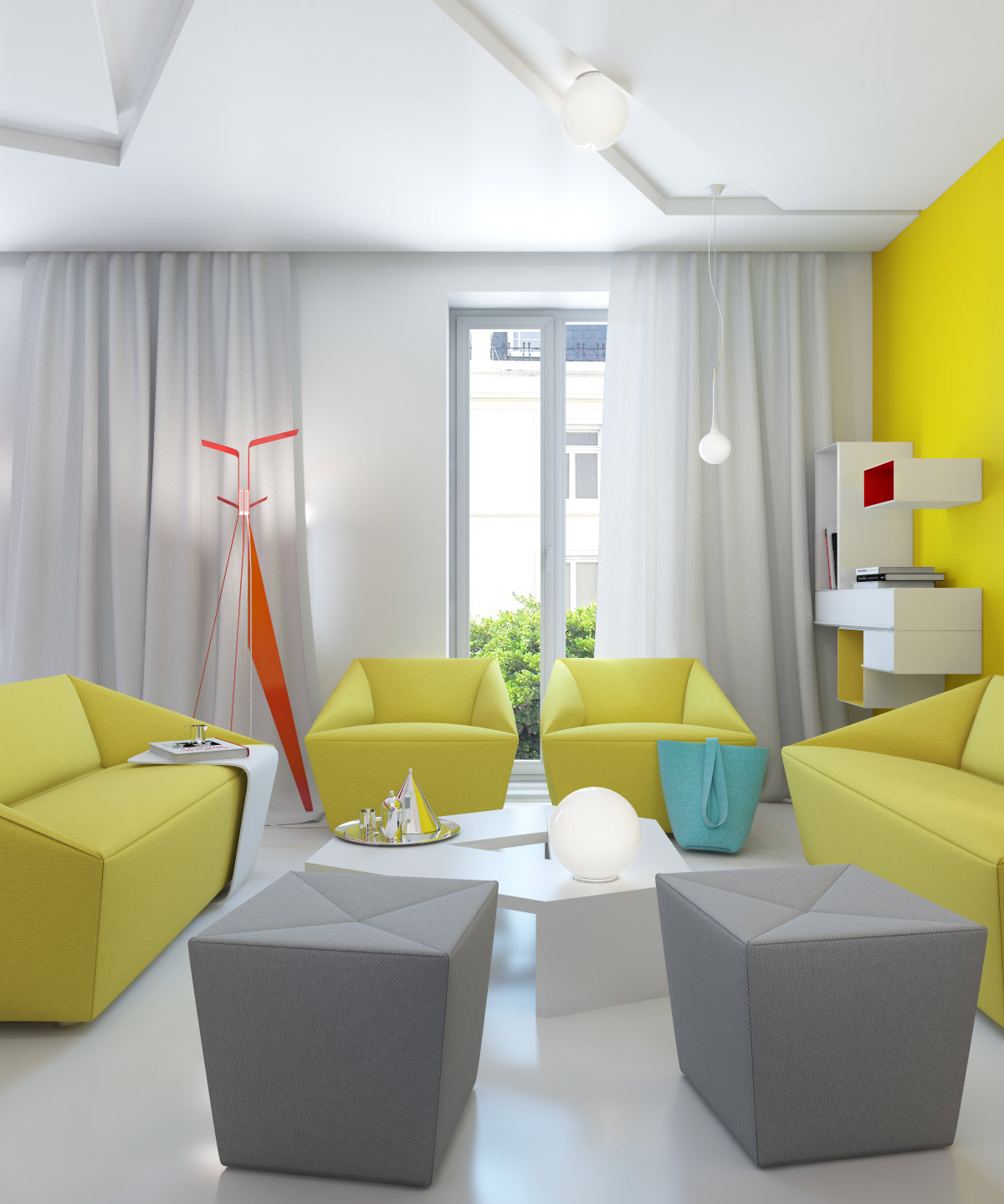 Yellow gray white modern living room interior design ideas for Yellow modern living room ideas