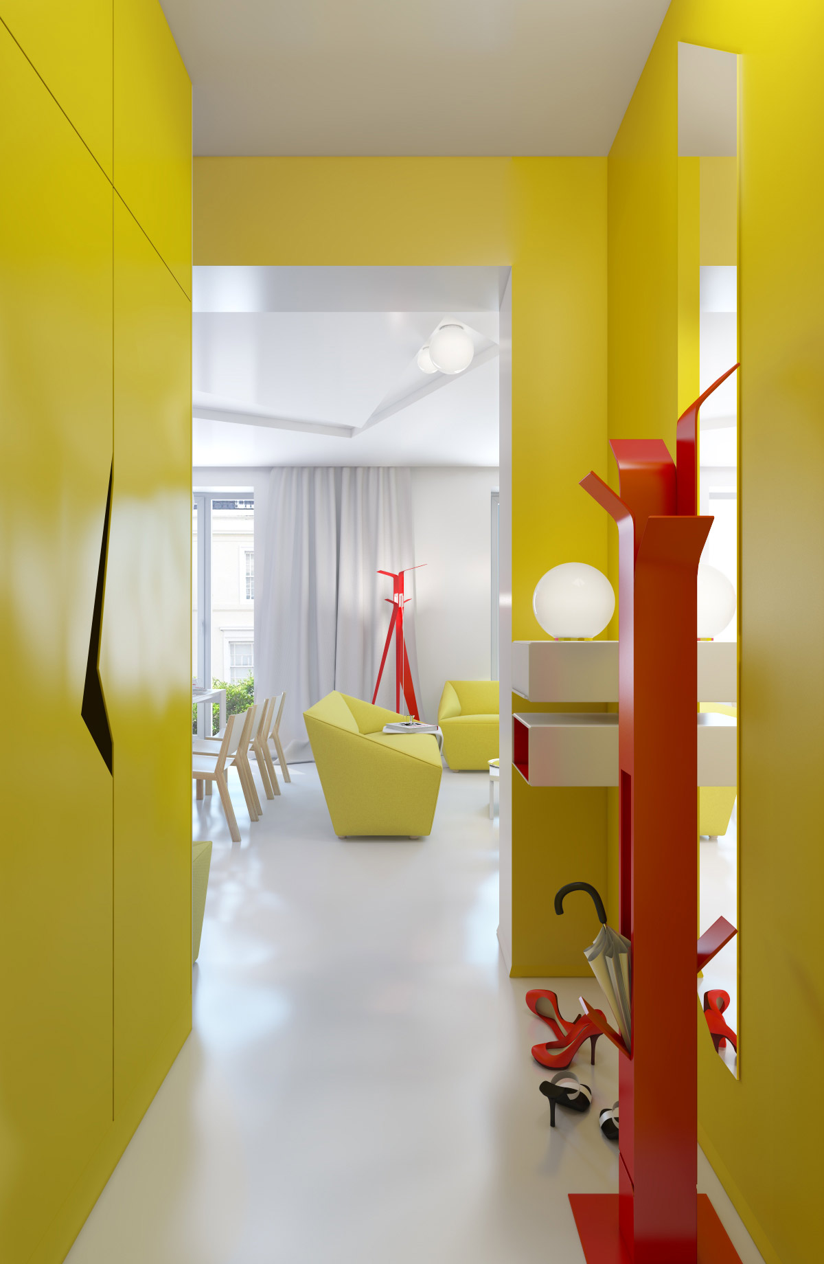 yellow hall storage unit | Interior Design Ideas.