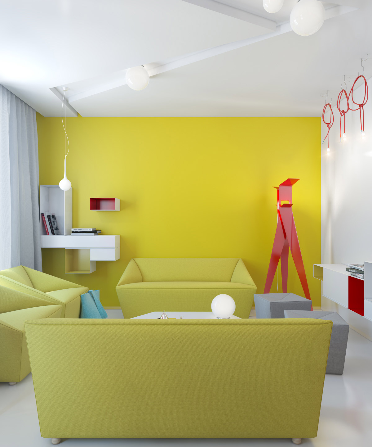 Small apartment zinging with color for Living room yellow accents