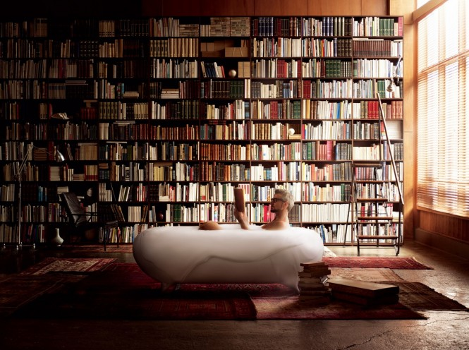 Via Lixil MilanoThe concept of bringing the bathtub out into the open once more, or situating it within unexpected surroundings is back at the forefront, with bubble baths taking place in the middle of a home library. This is a nice quiet place to have a bath time read, though we're not sure the moisture from the steam would do your prized book collection much good.