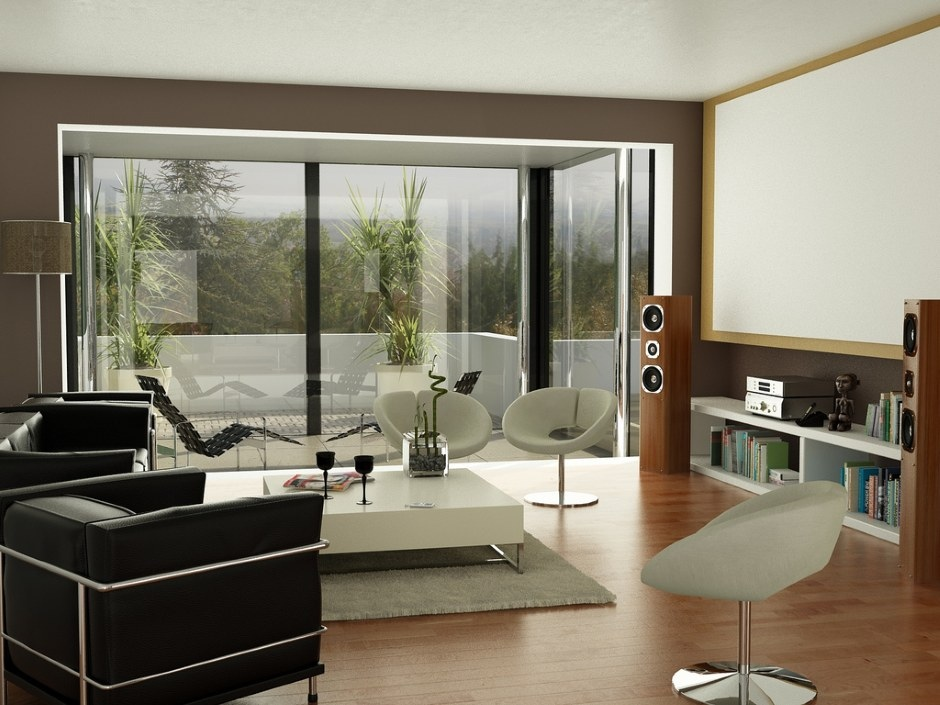 Black brown white living room projector screen interior for Black white and brown bedroom ideas