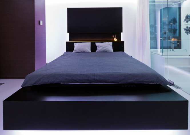 Black illuminated headboard