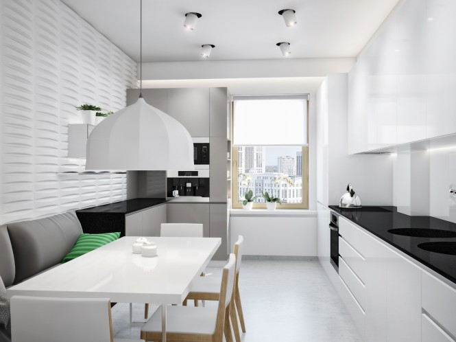 The kitchen holds a breakfast dining area within its monochrome scheme, where a textured wall adds interest to the fresh white backdrop.