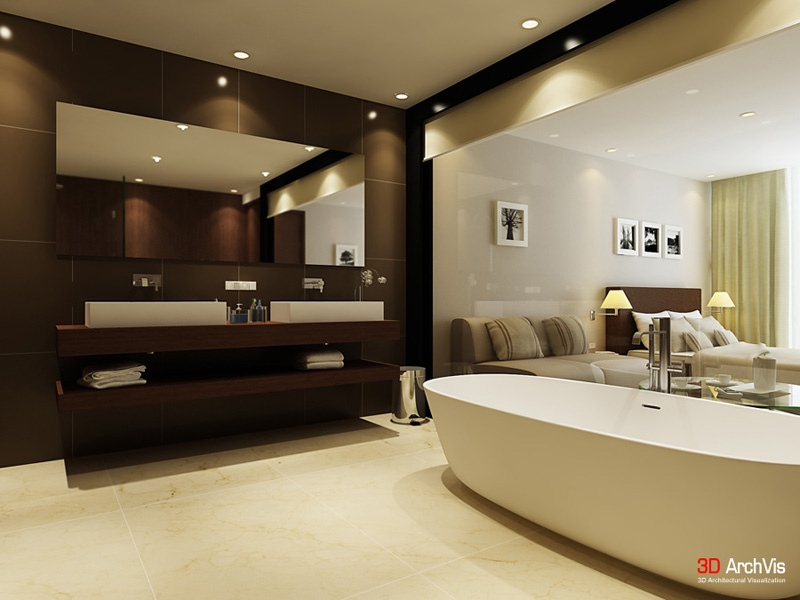 Brown cream white bathroom twin basins interior design for Modern ensuite ideas