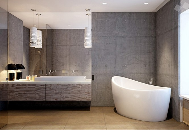 In the bathroom, grey grained wood compliments an architectural concrete finish, freshened by white sanitary ware which results in a hardened look, but the rest of the apartment in softened by curvaceous modern furniture and woolen area rugs.