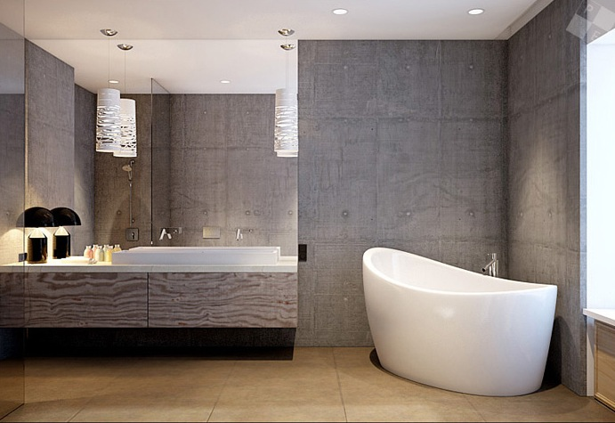 Concrete Bathroom Walls Freestanding Bath Interior Design Ideas