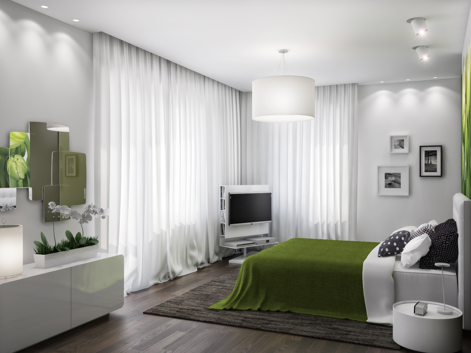 Green white bedroom scheme interior design ideas for Bedroom designs white