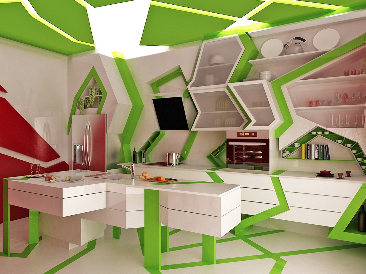 Green white unique contemporary kitchen interior design for Unique kitchen designs