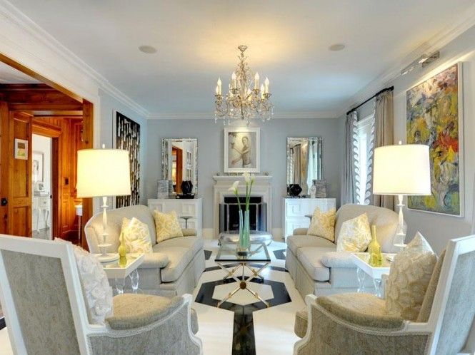 Luxurious white living room decor