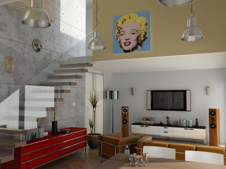 Modern Living Room Glass Balustrade Pop Art Interior