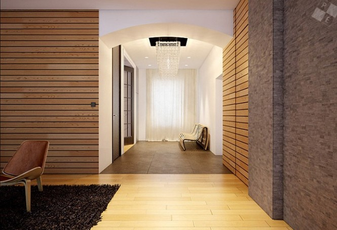 Modern wood clad interior walls