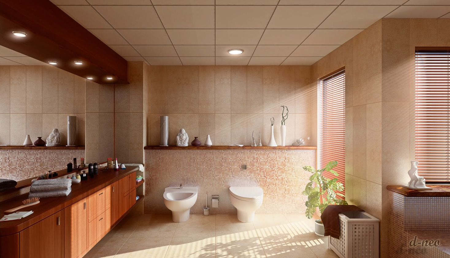 Large Bathroom Design Ideas Amazing Mosaic Tiled Bathroom Large Vanity Unit  Interior Design Ideas Decorating Design