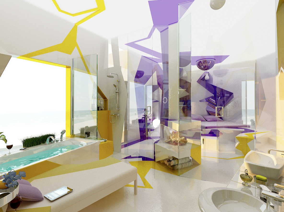 Purple yellow white bathroom layout idea interior design for Purple and yellow bathroom ideas
