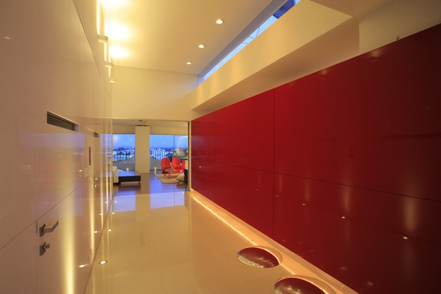 Red white hallway design ideas