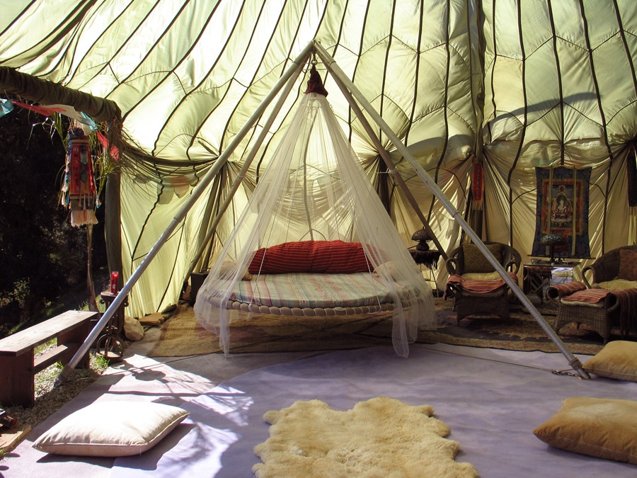 Shaded mosquito net bed interior design ideas for Net hammock bed
