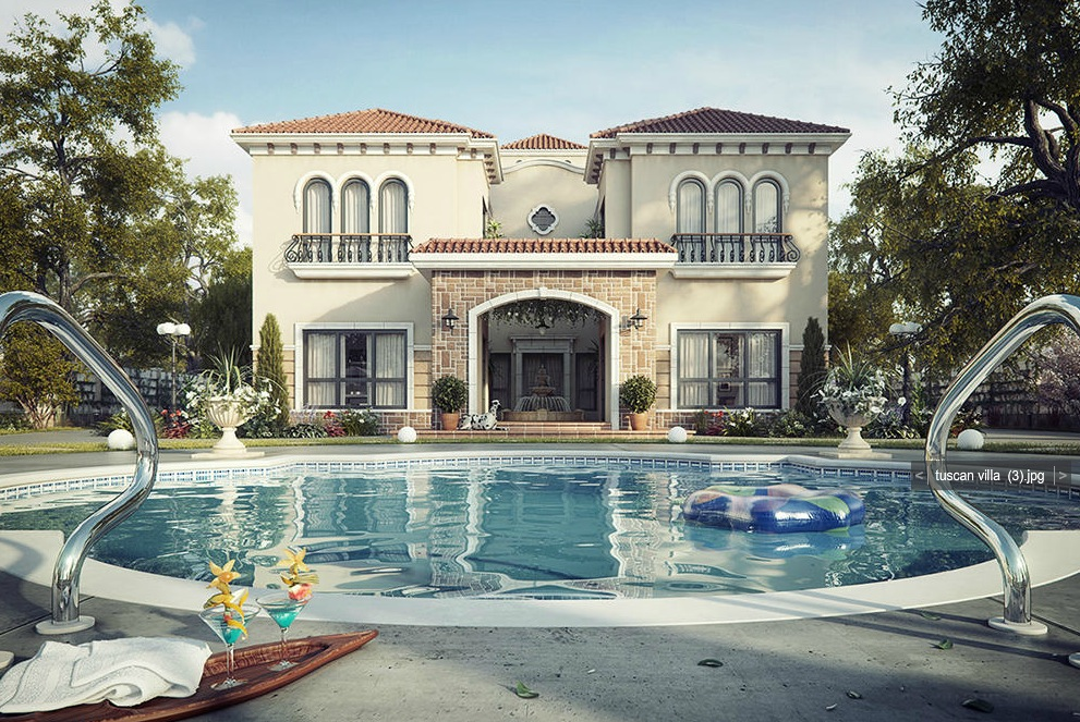 Dreamy spaces rendered by muhammad taher for Pool villa design