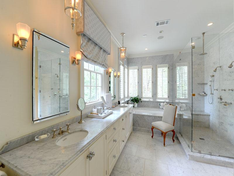 White Bathroom Marble Countertops Interior Design Ideas