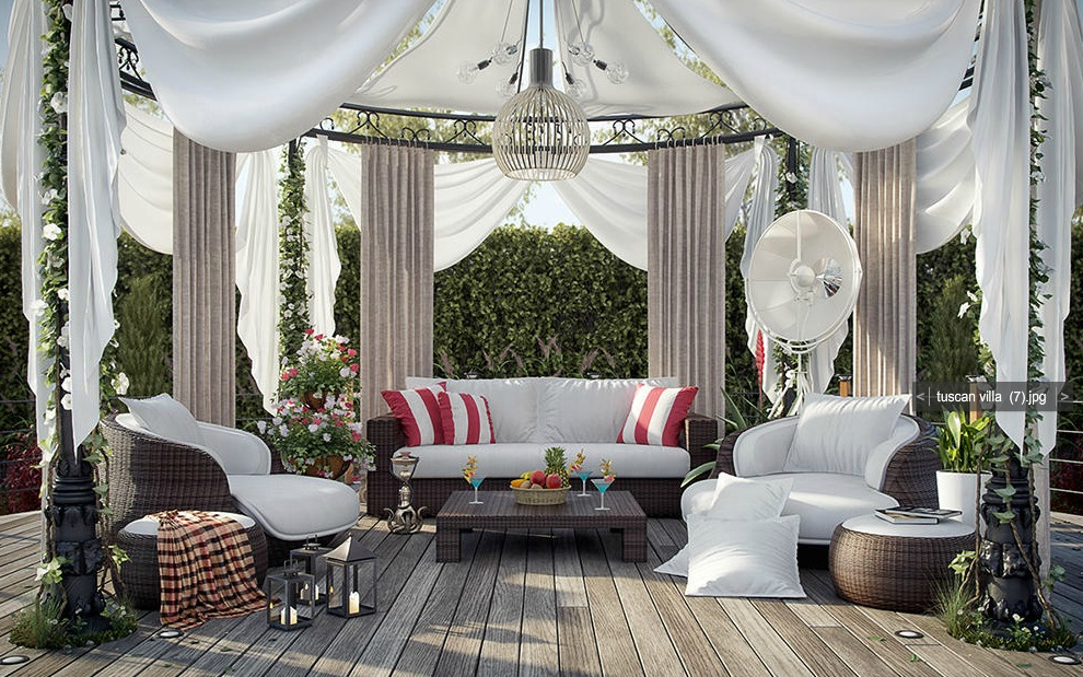white gazebo decking area interior design ideas