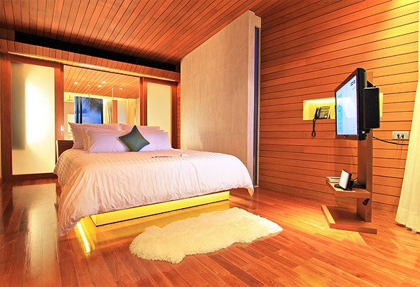 Wood clad walls modern bedroom design