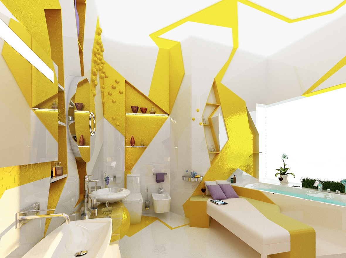 Yellow white decor compact apartment design interior for Home decor yellow walls