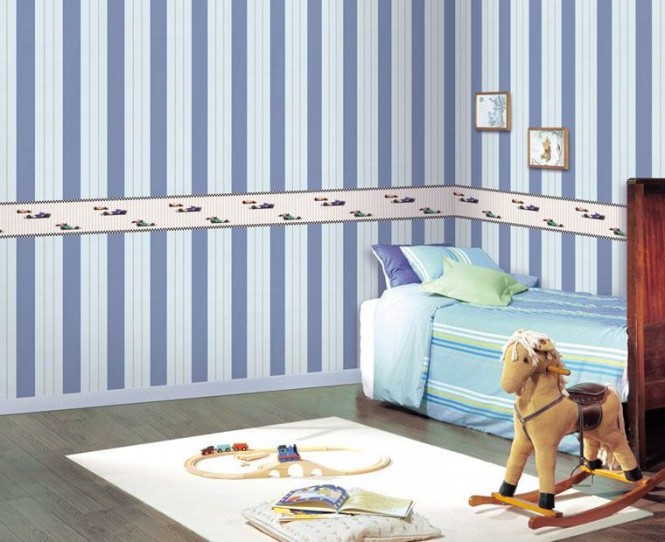 A fun themed border, in complimentary tones, breaks a bold stripe design, and could be quickly and easily covered over with a more generic trim at a later date, as the child matures towards teenage tastes.