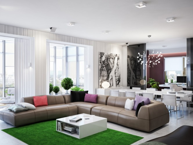 The active living area includes a long dining room for seating eight, a lounge with bright grassy green rug, and a sundeck with bustling city and river views; an elegant dual study lies just beyond tall, tinted sliding doors, to allow working life to be separated from family time at the end of the day.