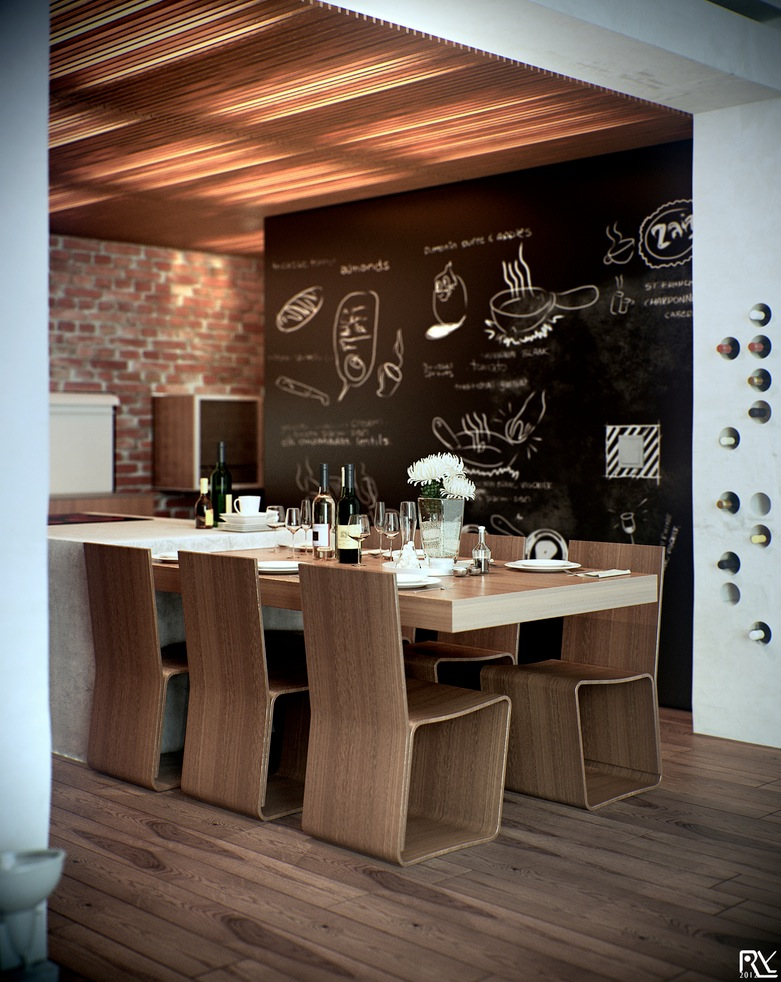 Kitchen Diner Chalkboard Wall Interior Design Ideas