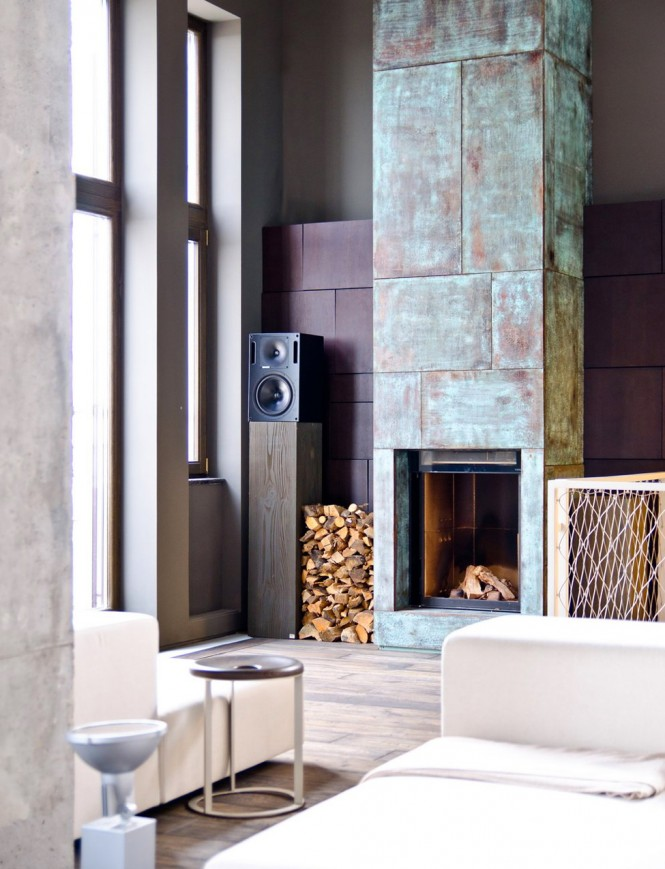 modern fireplace industrial decor