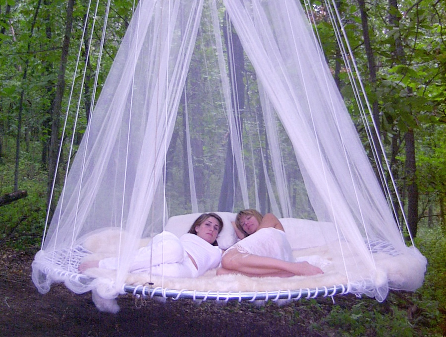 Mosquito Net Outdoor Bed Interior Design Ideas