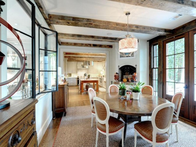 neutral dining room exposed beams