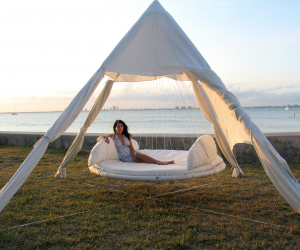 "With the option of an indoor or an outdoor Floating Bedâ""¢, its not just a place to sleep, but a fun place to hang out and chat with friends or the kids, to relax peacefully with a good book, or to gaze at the view with a refreshing cocktail in hand."