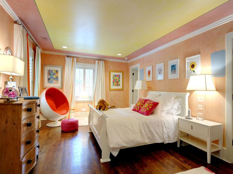 pink orange teenagers bedroom | Interior Design Ideas.