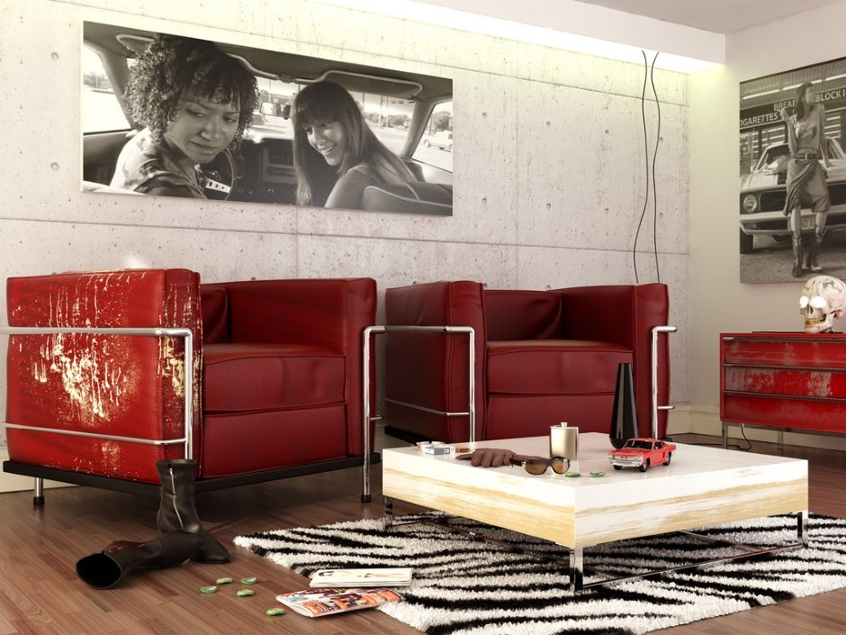 Red black white contemporary living room interior design for Modern living room red
