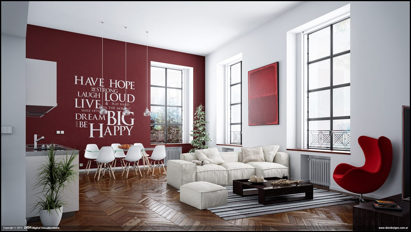 Red white living room wall decal interior design ideas - Wall sticker ideas for living room ...