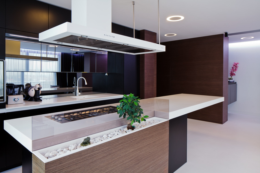 White corian kitchen countertop interior design ideas for Design interni case moderne