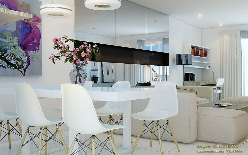 White Decor Dining Areas : white dining room mirrored cabinets from www.home-designing.com size 1020 x 640 jpeg 195kB