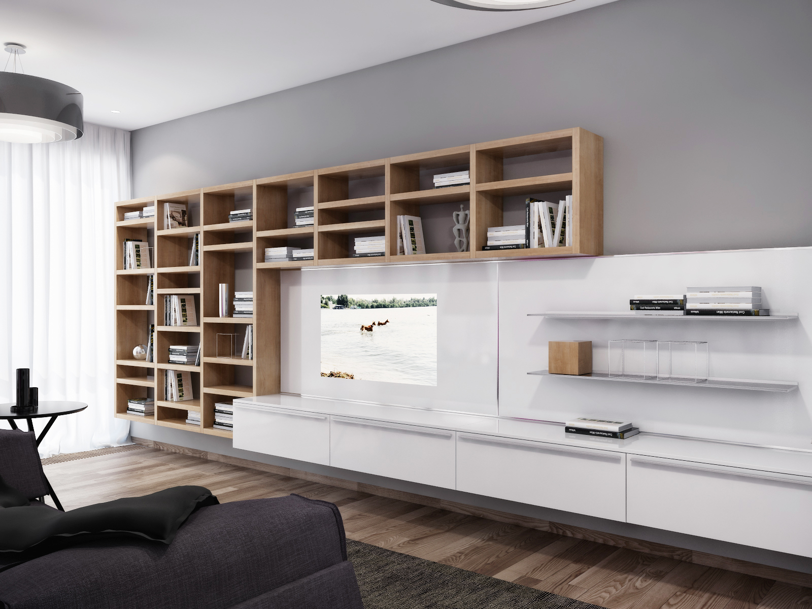 White entertainment wall unit interior design ideas for Modern living room shelving units
