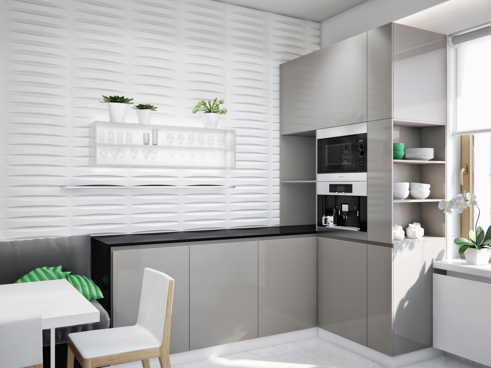 White kitchen gray units black worktop interior design for Black white and gray kitchen design